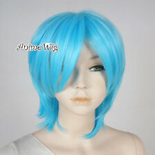 30CM Short Anime Heat Resistant Full Women Girls Sky Blue Layered Cosplay Wig