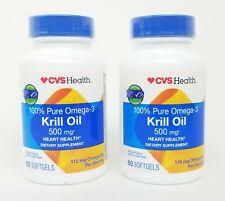 Lot of 2 CVS 100% Pure Omega-3 Krill Oil 500 Mg 60 Softgels Each