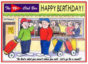 GOLF GOLFERS DRINKING FUNNY JOKE CARTOON BIRTHDAY CARD FREE POST 1ST CLASS