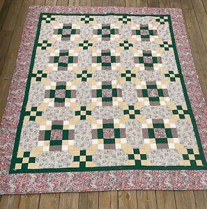 Handmade Quilt Pink Green Tan EUC Full Size