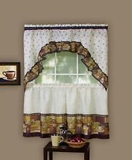 Coffee Complete Kitchen Curtain Tier and Swag Valance Set - Assorted Sizes