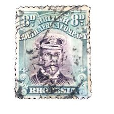 RHODESIA, SCOTT # 128,8p. VALUE, GRAY GREEN & VIOLET KGV 1913-23 ISSUE USED
