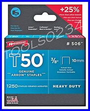"""Genuine Arrow Staples T50  3/8"""" 1,250 Box #506  MADE IN USA Free Shipping"""