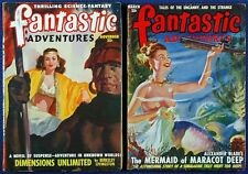 4 Issues FANTASTIC ADVENTURES Science Fiction Fantasy PULP Magazine V.G. 1948-52