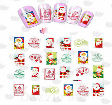 Nail Art Water Decals Transfer Stickers Santas Xmas Post Stamps (BLE2330)