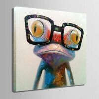 ZOPT309 hand painted abstract frog wearing glasse oil painting art on canvas