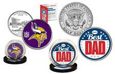Best Dad - MINNESOTA VIKINGS 2-Coin Set Quarter & JFK Half Dollar NFL LICENSED