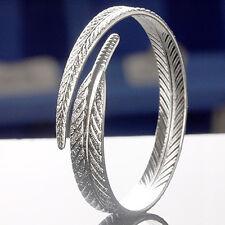 EG_Superbe de MODE FEMME ARGENT PLUME BRACELET RIGIDE réglable ouvertes bracelet