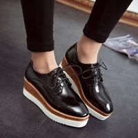 New Womens Square Toe Lace Up Platform Wedge Creeper Oxfords Mid Heel Heel Shoes