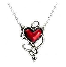 Alchemy UL17 Devil Heart Pendant Necklace Pewter Red Enamel Crystal ULFP20