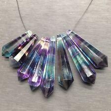 Natural Rainbow Fluorite Quartz Hexagnal Wand Point Reiki Healing Pendant DIY