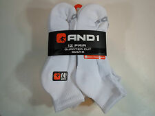 12 PAIRS AND1 Quarter Cut Ankle Socks Shoe Sz 6 - 12.5 White Arch Compression