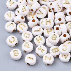 """100 perles rondes """" alphabet """" en acrylique, blanche à lettres colorées dorées"""
