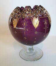 UNUSUAL ANTIQUE MOSER ART GLASS AMETHYST ENAMEL DECORATED PEDESTAL ROSE BOWL