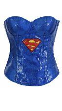 Sexy Super Girl Superhero Corset Womens Fancy Dress Costume Size M/L