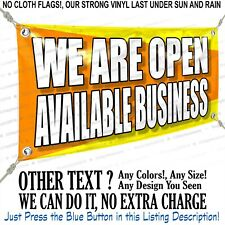 We Are Open Available Business Custom Vinyl Banner Personalized Outdoors Sign