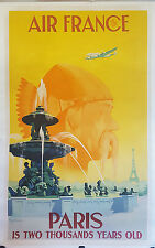 ON LINEN ORIGINAL Vintage Airlines Travel Poster AIR FRANCE Paris FRANCE Eiffel