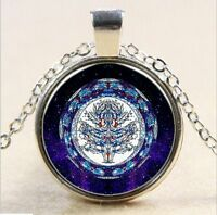 Tree of Life Inspiration Cabochon Glass Tibet Silver Chain Pendant Necklace #GY5