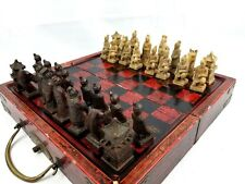 Vintage Chinese Terracotta Warriors Case Style Chess Set, Wood Box