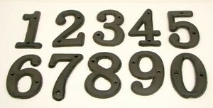USA SELLER Set of 10 Cast Iron House Address Numbers 0-9  Rustic Brown Crafts