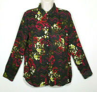 Kut from the Kloth Women Small Button Front Shirt Top Blouse Black Red Floral