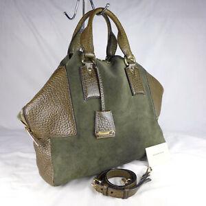Authentic Burberry Green Suede Large Shoulder Tote Satchel Handbag Purse VGC