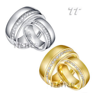 TTstyle 10mm Dazzling S.Steel Eternity CZ Anniversary Band Ring Set Silver/Gold