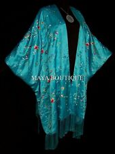 Turquoise Embroidered Silk Kimono Caftan Duster Opera Coat Maya Matazaro Plus