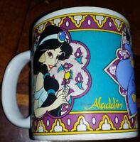 Vintage Disney Aladdin Jasmine Genie & Abu Coffee Mug Cup Ceramic 12 oz