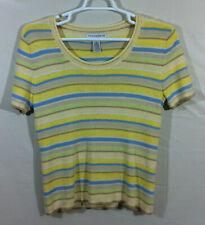 Sag Harbor Petite women's multicolor striped pullover short sleeve top size PL