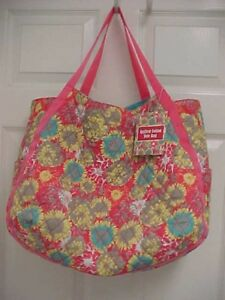 QUILTED COTTON Sunflowers Floral Hobo Large Shoulder Tote Bag Purse NEW TAG
