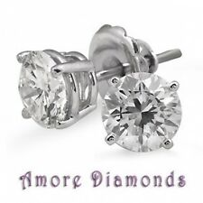 1 1/4 ct G SI1 round ideal cut diamond 4 prong solitaire studs earrings 18k gold