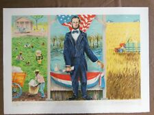 STONE LITHOGRAPH EMIL WEDDIGE ANN ARBOR CONCEIVED LIBERTY LINCOLN CIVIL WAR