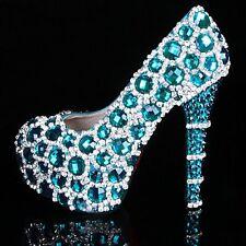 Teal Blue Diamante Crystal Bridal Prom Heels Debutante Ball Party Shoes