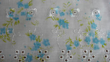 Broderie Anglaise with Small Blue Flowers Fabric - PER METRE