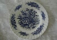 Collectible Vintage STAFFORDSHIRE BEACON HILL Cobalt Blue Floral Plate - England