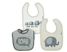Gerber Boy Bibs Infant Newborn Terry Cloth 3-Pack Safari Gray Tan