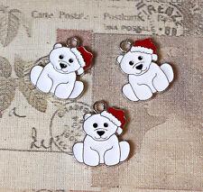 Mignon émail Ours polaire en bonnet de Père Noël Noël Charms x5