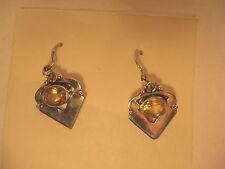 Earrings Dangle Drop Vintage Citrine Yellow Stone 925 Sterling Silver Pierced