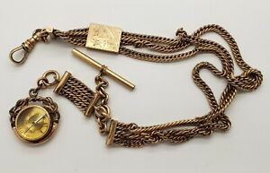 Antique Gold Filled Pocket Watch Chain w/Compass Fob
