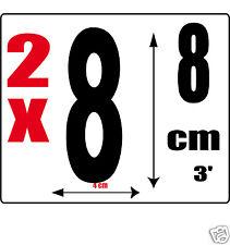 lot 2 Chiffres [8] Sticker autocollant noir hauteur 8cm Lettre en vinyle