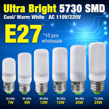 10 Pcs 5730 SMD LED Corn Bulb Cool/Warm Milky White E27 Lamp 7/9/12/15/20/25W 2