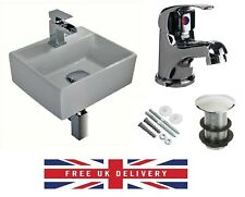 COMPACT SMALL CLOAKROOM SQUARE BASIN SINK WALL HUNG + FREE MONO TAP & WASTE
