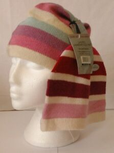 Ladies Girls Striped Lambswool Beanie Hat One Size fits All 2 Colours to Choose