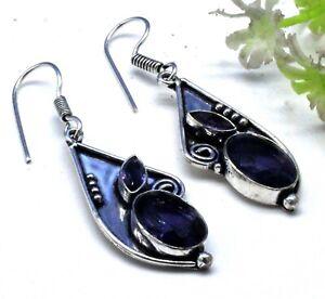 """925 Sterling Silver Tanzanite Gemstone Handmade Jewelry Earrings Size-1.20"""""""