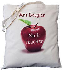 PERSONALISED - NO 1 TEACHER - APPLE DESIGN - COTTON SHOULDER BAG , gift, tutor