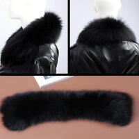 Vogue White&Black Real Genuine Farm Fox Fur Collar Scarf Wrap Shawl Neck Warm UK
