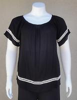 New Women's Plus Size Black & White Short Sleeve Top (Blouse) Sizes 1X 2X USA
