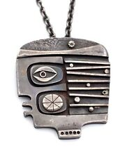 INCREDIBLE Vtg Modernist JACK BOYD Sterling Silver FACE Pendant Necklace RARE!