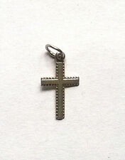 """Vintage 1980s Sterling Silver 925 Small Cross Pendant, 0.75""""(2cm) Unbranded Used"""